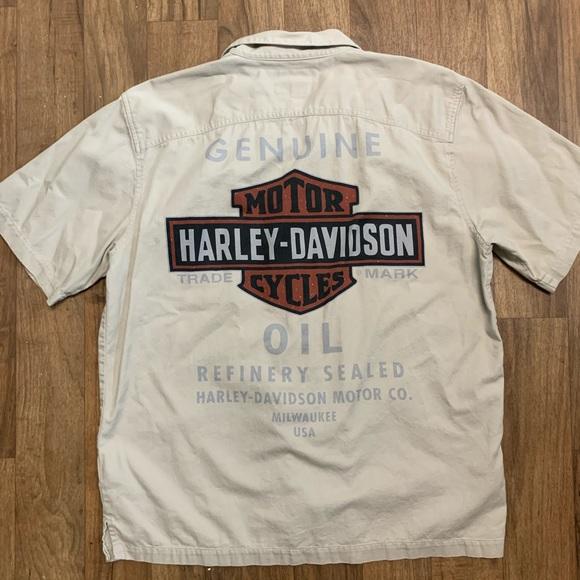 Harley-Davidson Other - Harley Davidson Button Down Khaki Shirt L